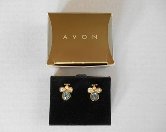 Avon Birthstone Bee, Pierced Earrings, Surgical Steel Posts, March, Aquamarine