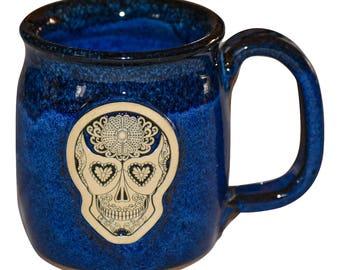 Handmade Pottery Sugar Skull Day of the Dead Dia de los Muertos Blue Galaxy Stoneware Coffee Mug