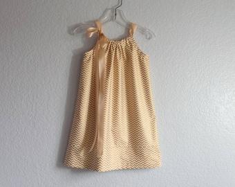 Girls Metallic Gold Party Dress - Gold and Cream Chevron Stripe Dress - Girls Gold Pillowcase Dress - Size 18m, 2T, 3T, 4T, 5, 6, 8 or 10