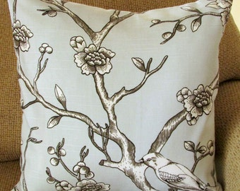 "Light Grey, Ivory, and Black Pillow Cover, 18 Inch Square, Bird Floral Branch Print, Envelope Style Cotton Pillow Case, ""Dove Branches"""
