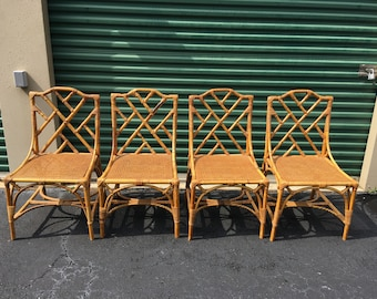 RESERVED For DEVON   Mid Century Italian Rattan Chippendale Chairs ...