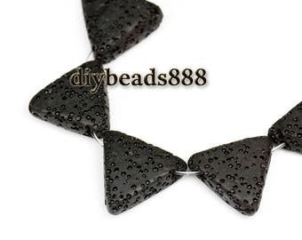30 pcs of Black Lava matte triangle beads 18mm,More color for choose