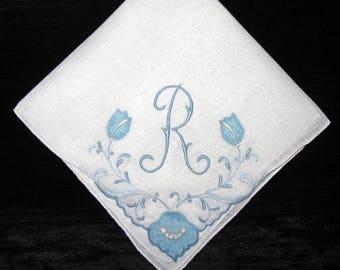 Wedding Keepsake Handkerchief, Vintage Bride Hankie Something Blue Initial, R P G M L S B D A or E