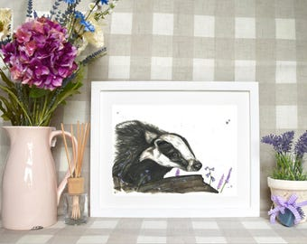 Basil the badger Limited edition print