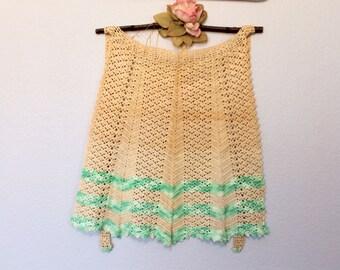 Vintage Crocheted Apron Cream Green