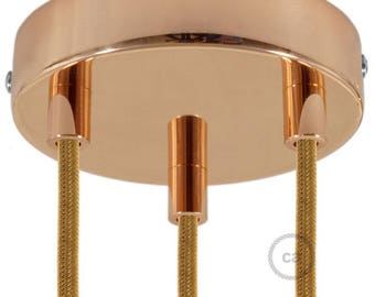 Copper 3 Holes Cylinder Canopy Kit, bracket, screws and 3 cable retainers. Create multiple pendants!