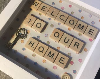 Scrabble letters 'welcome to our home' box frame gift