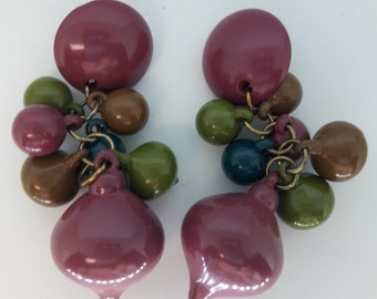 Acrylic Lucite Purple, Brown, and Green Fruit Salad Pierced Vintage Earrings