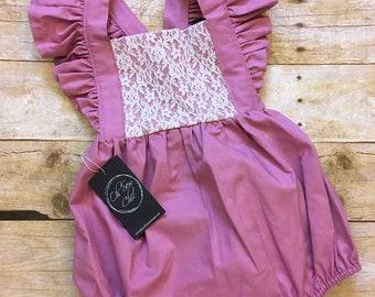 READY TO SHIP Baby Girl Boho Romper, Lace Bubble Romper, Baby Sunsuit, Mauve Romper, Pink Bodysuit, Vintage Bubble Romper