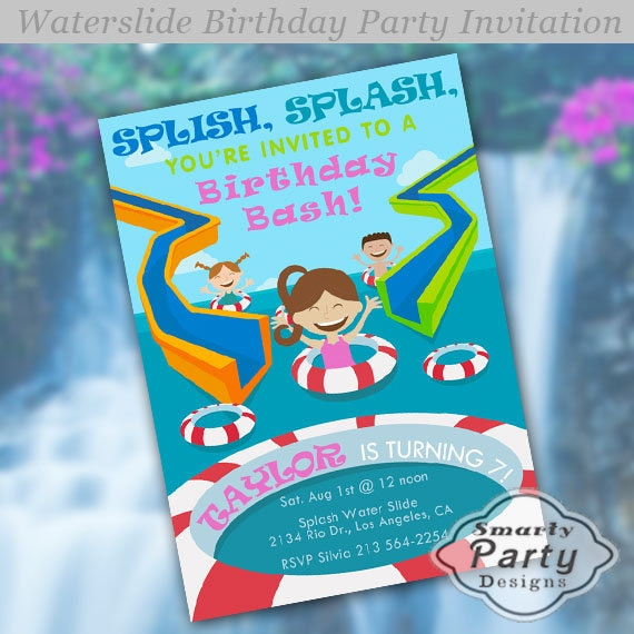 Girl Water Slide Water Park Pool Party Birthday Party Summer