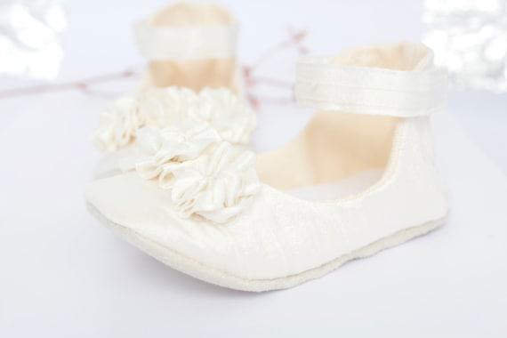 Ivory Silk  Christening/ Baptism shoes,