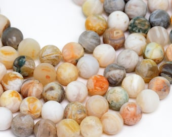 "8MM Bamboo Agate Natural Gemstone Round Shape Matte Effect Full Strand Loose Beads 15"" (100258-280)"