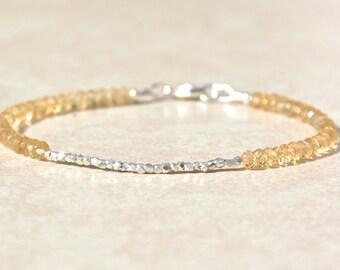 Citrine Gemstone Bracelet, November Birthstone, Silver Beaded Bracelet, Stacking Bracelet, Friendship Bracelet, Boho Chic, Gift For Her