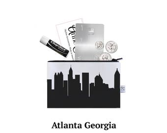 ATLANTA Skyline Mini Purse. Coin Purse. Lipstick Purse. Business Card Holder. Credit Card Case. Skyline Silhouette Purse. Gifts for Her.
