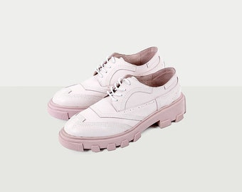 Women MAR Pink Leather Heeled Oxfords Shoes, Womens Shoes
