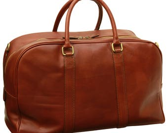 Leather Travel Bag in Brown made of Genuine Italian Leather - Leather Bag - Laptop Bag - Leather Briefcase - Mens Gift