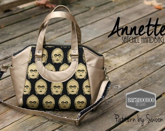 Swoon Annette Satchel Handbag purse done in Star Wars fabric C3P0 in gold and black tote, purse