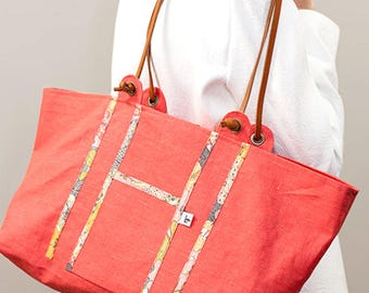 Linen Tote coated Liberty Mauvey handles Gold - last PIECE available leather ganse coral!