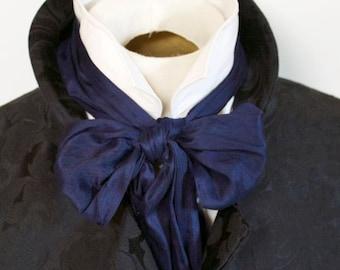 Navy Regency 6 inch width Dupioni Victorian Ascot Tie Cravat Silk