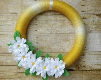 Summer Felt Flower Wreath, Felt Flower Wreath, Daisy Wreath, Spring Felt Wreath