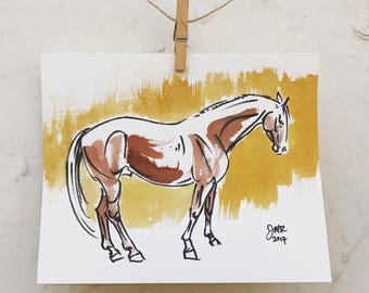 "Horse art original pen & ink painting - ""Skeptical Horse"" in brown and mustard"