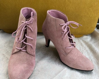 Pink Leather Boots, Retro Suede Booties, Size 6M