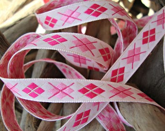 2 Yards - Light Pink and Hot Pink Argyle Diamond Ribbon