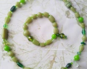 green tones jewelry set, Good luck jewelry set