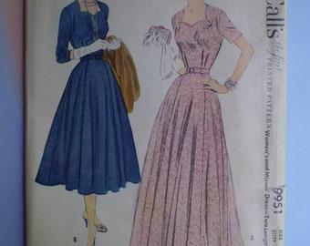 Vintage 50s Ballerina or Floor Length Dress Uncut Pattern 38