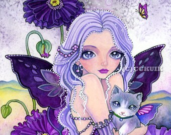 Poppy Night Adventure- Digital Stamp Instant Download / Animal Cat Poppy Flower Fantasy Butterful Fairy Art by Ching-Chou Kuik
