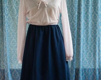Vintage Dress - 80s Polka Dot Red White and Navy