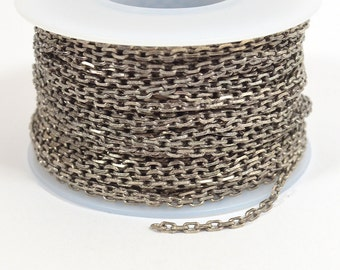 Rectangle Cable Chain - Antique Silver - 2mm x 3mm Links - CH157 - Choose Your Length