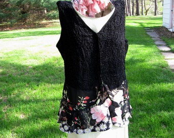 Black Handbeaded Gypsy Bohemian Vest with Flowing Floral Skirting Upcycled Wearable Art