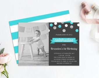 Boy First Birthday Invitation, Birthday Invitation for Boys, Printable Invitation, Photo Invitation, Boys First Birthday, First Birthday Boy