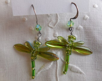 Spring Sprouts Dragonfly Dangle Earrings in Light Green