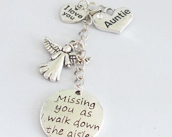 "BOUQUET memory charm, ""Missing you as I walk down the aisle"", Wedding, Bride, choice from 60+ friend and relation charms"