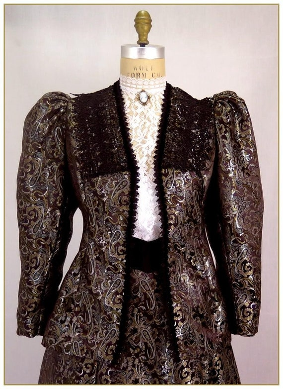 Victorian Jacket, Coat, Ladies Suits | Edwardian, 1910s, WW1 Paisley Satin Victorian Jacket $115.00 AT vintagedancer.com