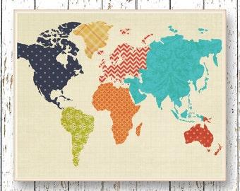World map artwork adventure awaits family room playroom world map artwork family room wall art playroom art kids art room decor navy blue orange yellow green wall art childrens office art gumiabroncs Images