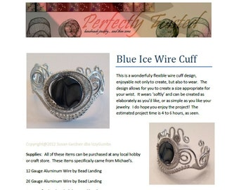 TUTORIAL, Wire Wrapped Blue Ice Cuff Bracelet, DIY, Handmade Wire Jewelry Project