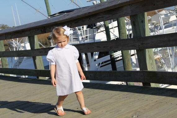Girls Khaki Beige Seersucker Jumper Dress, Can be Monogrammed with purchase of Monogram Upgrade, Matching Jon Jon available