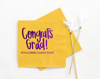 Graduation Party Napkins Class of 2018 Personalized Graduation Napkins Congrats Grad Decorations Custom Printed Beverage Napkins LSU Tigers