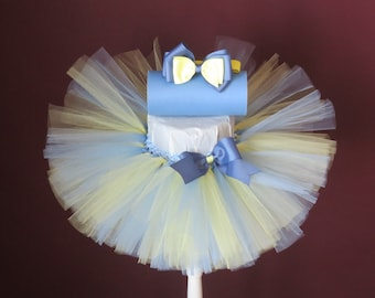 Baby Tutu Toddler Tutu Baby Shower Gift Flower Girl Tutu Blue and Yellow Tutu with Matching Headband/Hair Clip- Can Be Made In Any Size