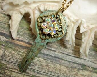 Steampunk Flower Crystal Key Necklace-Key Necklace-Rhinestone Crystal Key Necklace-Industrial Steampunk Jewelry for Her, OOAK
