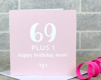 70th birthday card - milestone birthday, personalised70th birthday card, 69 plus 1