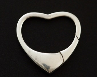 1 Sterling Silver Heart Lobster Clasp - Triggerless - 18mm - Shiny or Antique - Made in the USA - 100% Guarantee