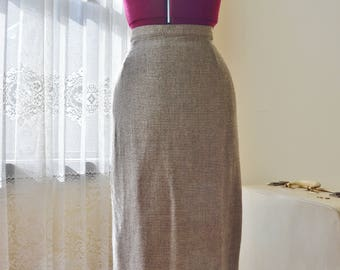 Vintage 60's brown and white checked Mohair pencil skirt