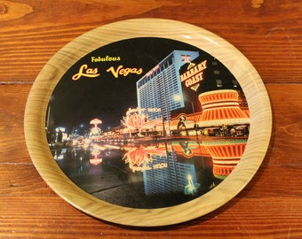 "Vintage FABULOUS LAS VEGAS 11-3/8"" Metal Tray - Flamingo, Barbary Coast"