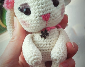 Crocheted small toy bunny toy handmade toy toy for girls amigurumi toy interior doll cute bunny little bunny white cute bunny