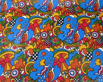4 Yards Peter Max 1960s MOD Psychedelic Wrapping paper Retro Kitsch Vintage 60s Moon Sun Stars Man Woman 70s Trees