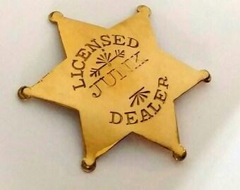 Licensed Junk Dealer badge, sheriff's badge, star badge, sheriff's pin, star pin, junker pin, country living fair, antique dealer, old pin